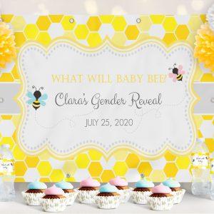 Vinyl Bumble Bee Gender Reveal Backdrop- Honeycomb