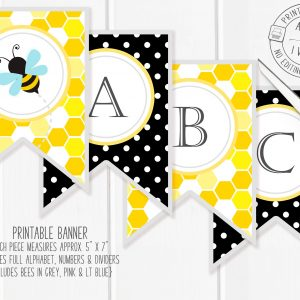Printable Bumble Bee Banner- Honeycomb & Dots