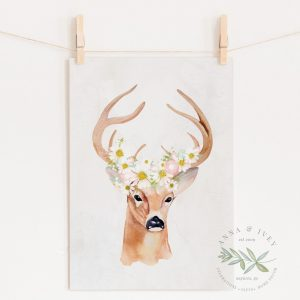 Deer with Daisies Printable Nursery Art