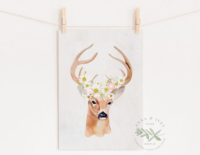 Deer with Daisies Printable Nursery Art
