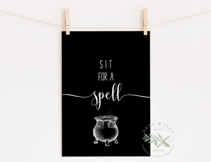 """Sit for a Spell"" Printable Halloween Art- Black"