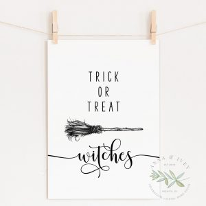 """Trick or Treat Witches"" Printable Halloween Art"
