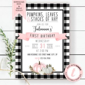 Printable Buffalo Check with Pink Pumpkins Birthday Invitation