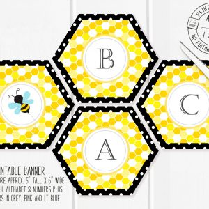 Printable Bumble Bee Honeycomb Banner