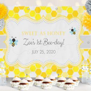 Vinyl Bumble Bee Honeycomb Birthday Backdrop