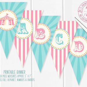 Printable Pink & Teal Circus/Carnival Banner