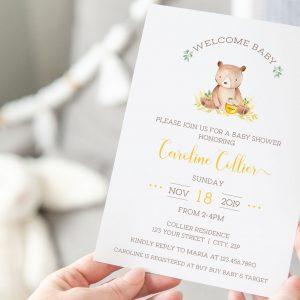 Printable Honey Bear Baby Shower Invitation