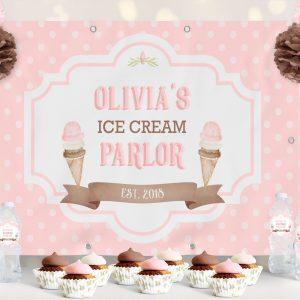 Vinyl Ice Cream Backdrop- Polka Dots