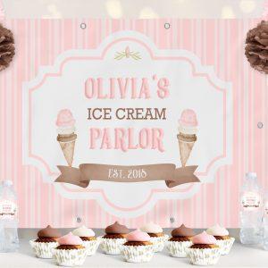 Vinyl Ice Cream Backdrop- Stripes