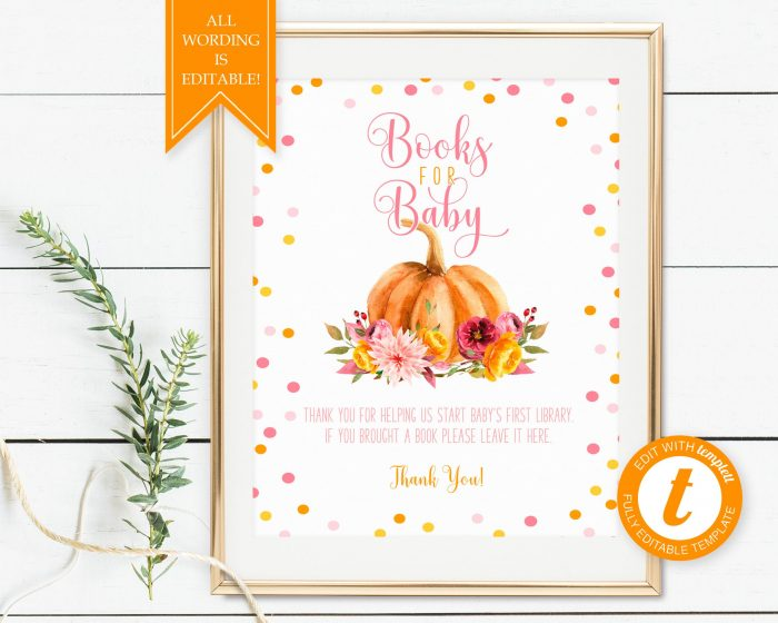 Printable Little Pumpkin Books for Baby Sign
