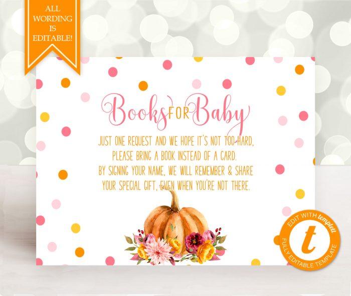 Printable Little Pumpkin Books for Baby Card