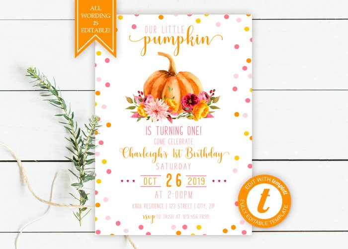 Printable Little Pumpkin Birthday Invitation