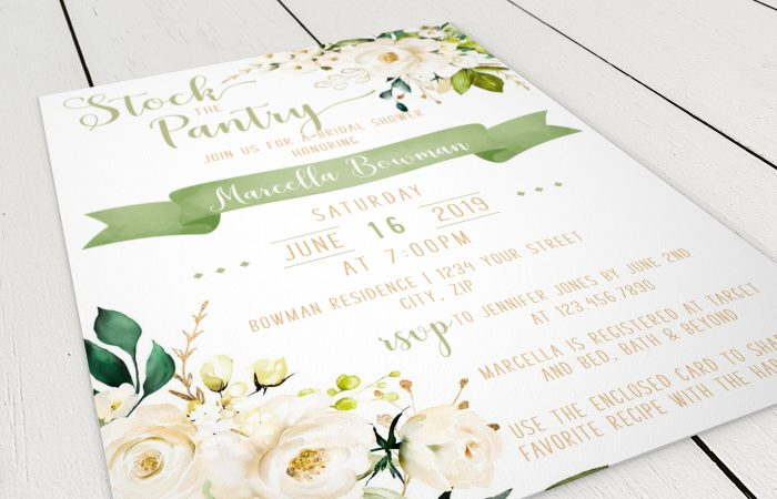 Printable White Floral Stock the Pantry Invitation