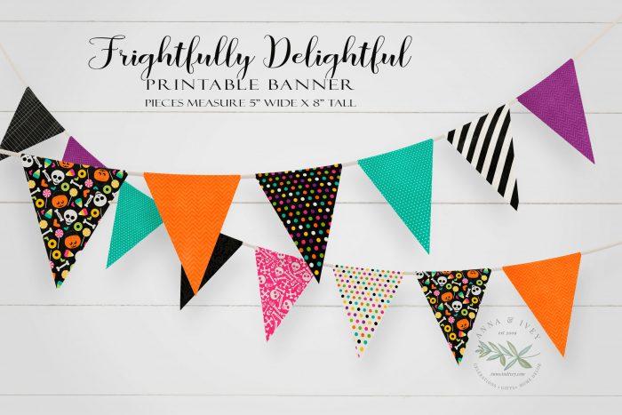 Printable Frightfully Delightful Pennant Banner