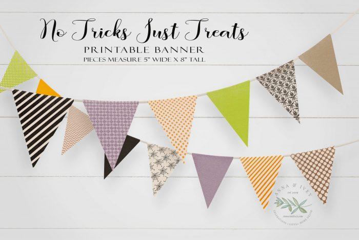 Printable No Tricks Pennant Banner