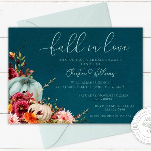 Printable Teal Pumpkins Fall in Love Invitation