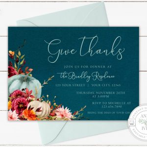 Printable Teal Pumpkins Give Thanks Invitation