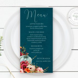 Printable Teal Pumpkins Menu Cards