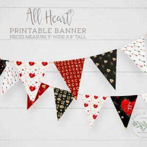 Printable All Heart Valentine Banner