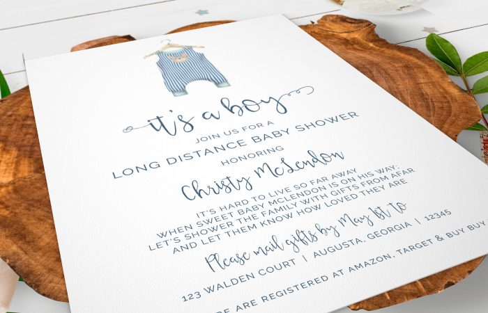 PRINTABLE BABY ONESIE- LONG DISTANCE INVITATION
