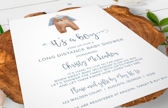 Printable Baby Boy Onesie- Brown- Long Distance Invitation