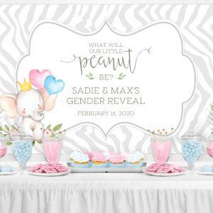 Printable Little Elephant Gender Reveal Backdrop