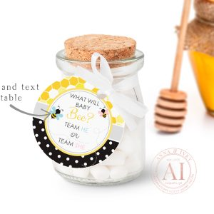 "Printable Bumble Bee Small Round Labels/Tags- Honeycomb & Dots- 1 1/2"" & 2 1/2"""