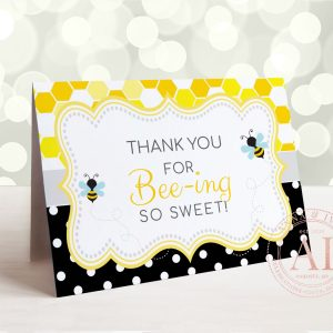 Printable Bumble Bee Thank You Card- Honeycomb & Dots