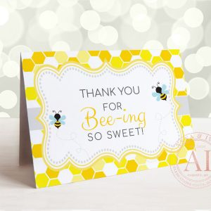 Printable Bumble Bee Thank You Card- Honeycomb