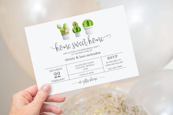 Printable Cactus Housewarming Invitation- Home Sweet Home