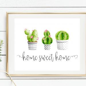 Printable Cactus Home Sweet Home Art