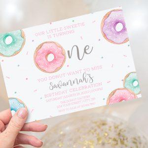 Printable Doughnut Invitation- First Birthday