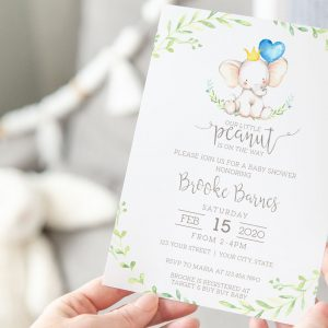 Printable Little Elephant Baby Shower Invitation- Blue with Greenery