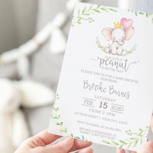 Printable Little Elephant Baby Shower Invitation- Pink with Greenery