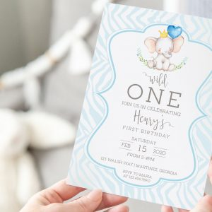 Printable Little Elephant Birthday Invitation- Blue Zebra
