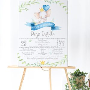 Printable Little Elephant Milestone Poster- Blue