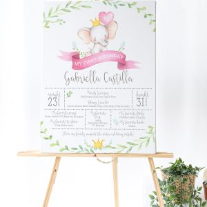 Printable Little Elephant Milestone Poster- Pink