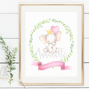 Printable Little Elephant Name Print- Pink