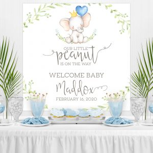 Printable Little Elephant Baby Shower Backdrop- Blue with Greenery