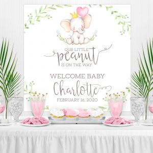 Printable Little Elephant Backdrop- Pink with Greenery