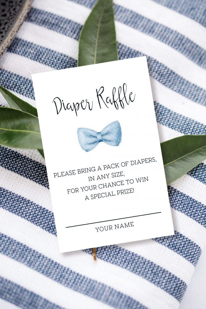 Printable Diaper Raffle Card- Light Blue Bow Tie