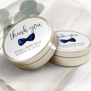 "Printable Baby Shower Circle Labels/Tags- 3"" Inch- Navy Bow Tie"