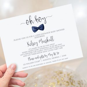 PRINTABLE LONG DISTANCE BABY SHOWER INVITATION- NAVY BOW TIE