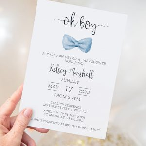 Printable Baby Shower Invitation- Light Blue Bow Tie