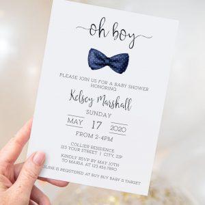 Printable Baby Shower Invitation- Navy Bow Tie