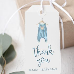 Printable Baby Shower Tags- Blue Onesie