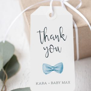 Printable Baby Shower Tags- Light Blue Bow Tie