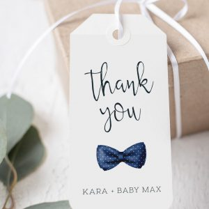 Printable Baby Shower Tags- Navy Bow Tie