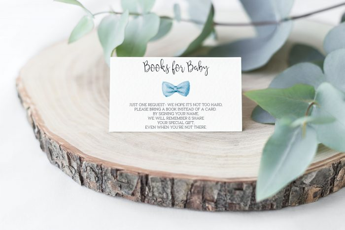 Printable Books for Baby Card- Light Blue Bow Tie