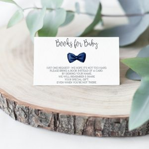 Printable Books for Baby Card- Navy Bow Tie